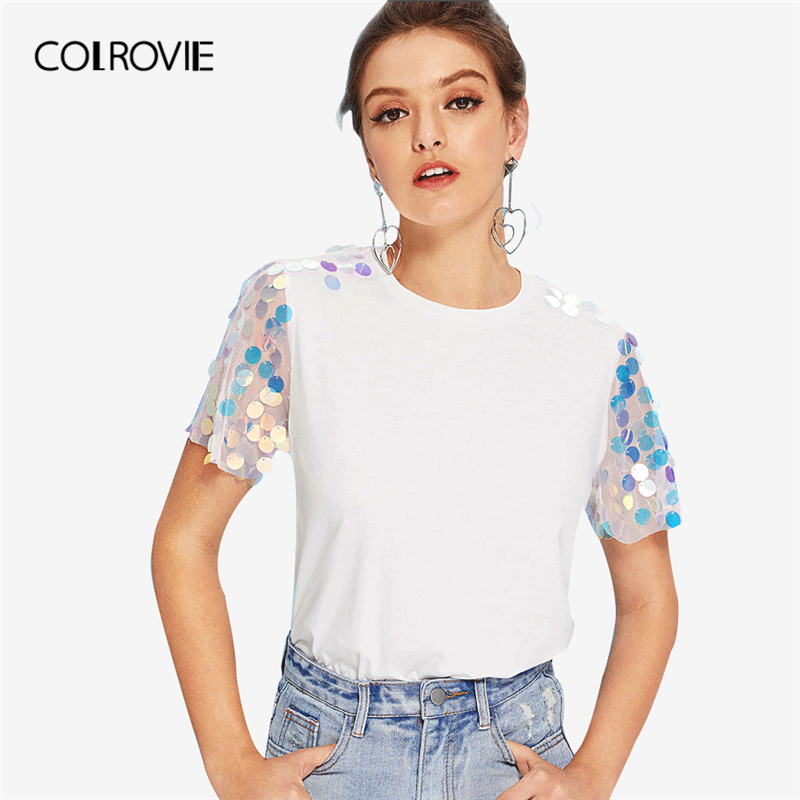 COLROVIE White Contrast Sequin Mesh Sleeve Preppy T-Shirt Tee Summer Sheer Weekend Casual Top Tee Basic Women Clothing