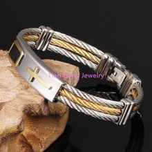 Charming Unisex 316L Stainless Steel Wristband Silver Gold Cross Cable Wire Bracelet/Bangle For Women/Men Love's Jewelry