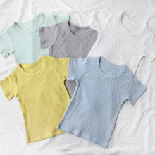 429aec59 2019 Summer Children Tops Kids Clothes Girls Cotton T Shirts for Boys Short  Sleeve Summer T-Shirts Ribbed Striped Blouse