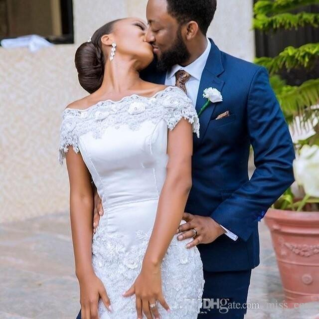 Sexy Off The Shoulder Wedding Dresses Lace Appliques Black Girls Bridal Gowns Mermaid South African Wedding