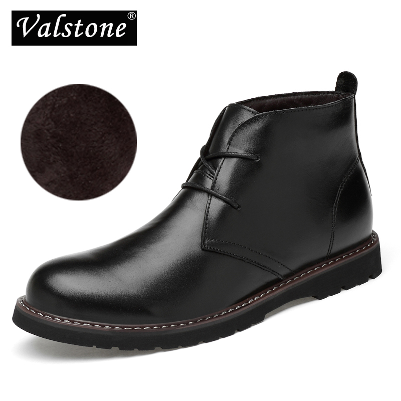 Taille Chaud Marque Luxe brown D'hiver Hommes La Imperméables Boot Chaussures black De Bottes Black Botas Winter Plus Valstone Homme Winter Robe En Véritable brown Cuir Cheville OSxHEwq