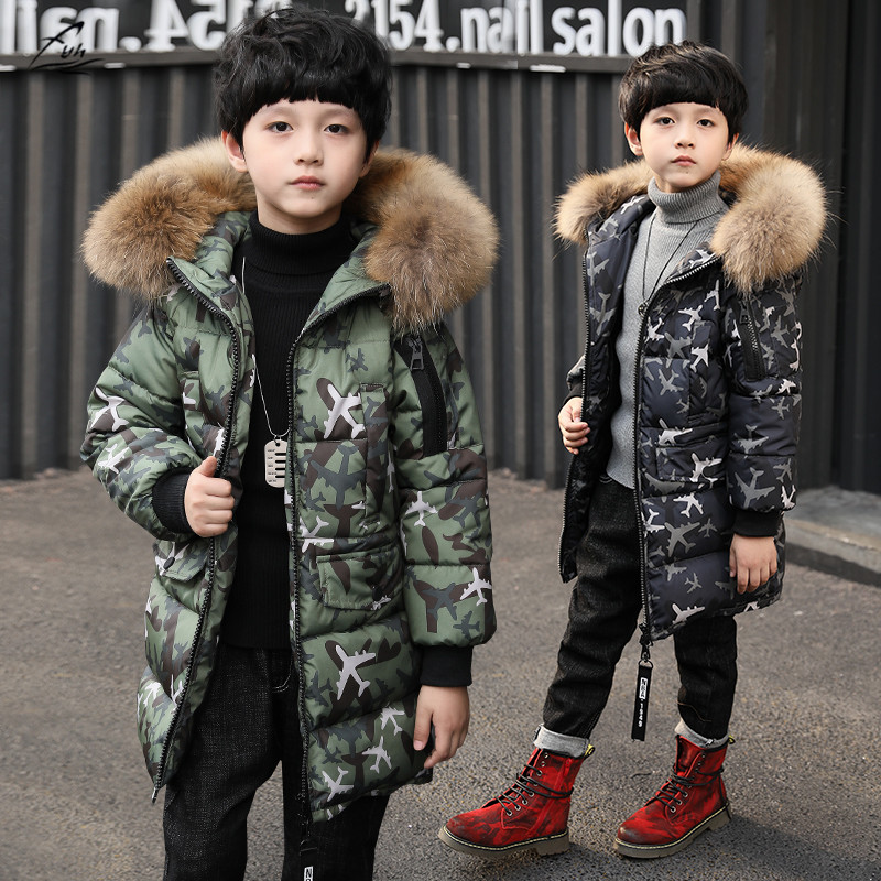 FYH Kids Clothes Winter Boys Big Fur Hooded Camouflage Parkas Children's Warm Thicken Cotton Padded Jackets Kids Boys Down Coat children thicken warm winter coat kids cotton padded jacket wadded outwear thickening boys girls fur hooded parkas clothes y105