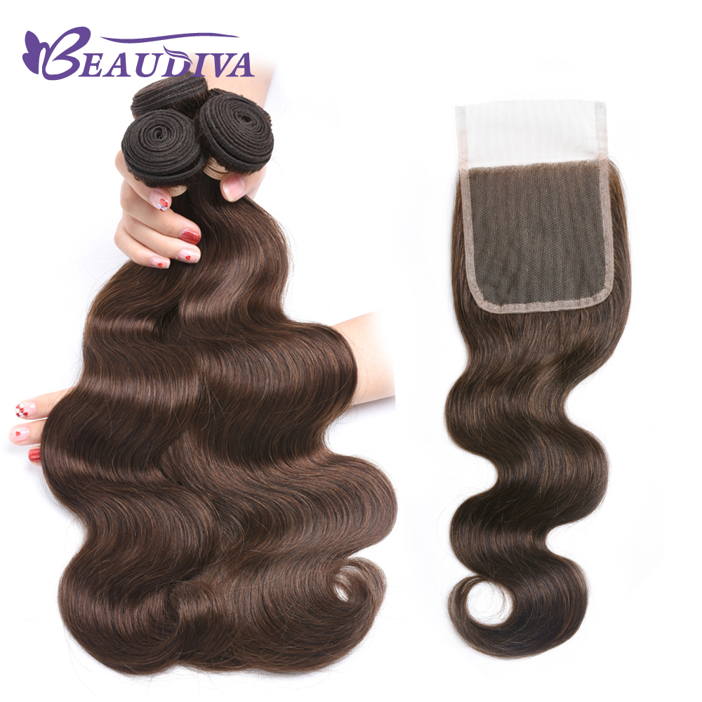 BEAU DIVA 4# Body Wave 100% Human Hair 8 to 24 inch Bundles with Closure Brazilian Hair Weave 3 Bundles with Closure Remy Hair