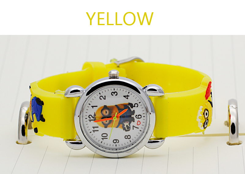 Cutely cartoon watches for children kids boys girls despicable me minion watch quartz for Despicable watches