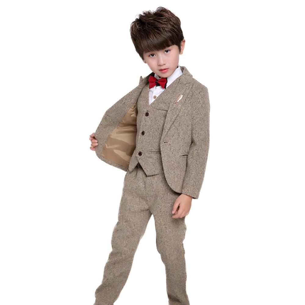 8fda8bcb3 5PCS Little Boy Gentleman Suit Formal Wear Coat Shirt Vest Pants Outfit Set  Wedding Party Suit