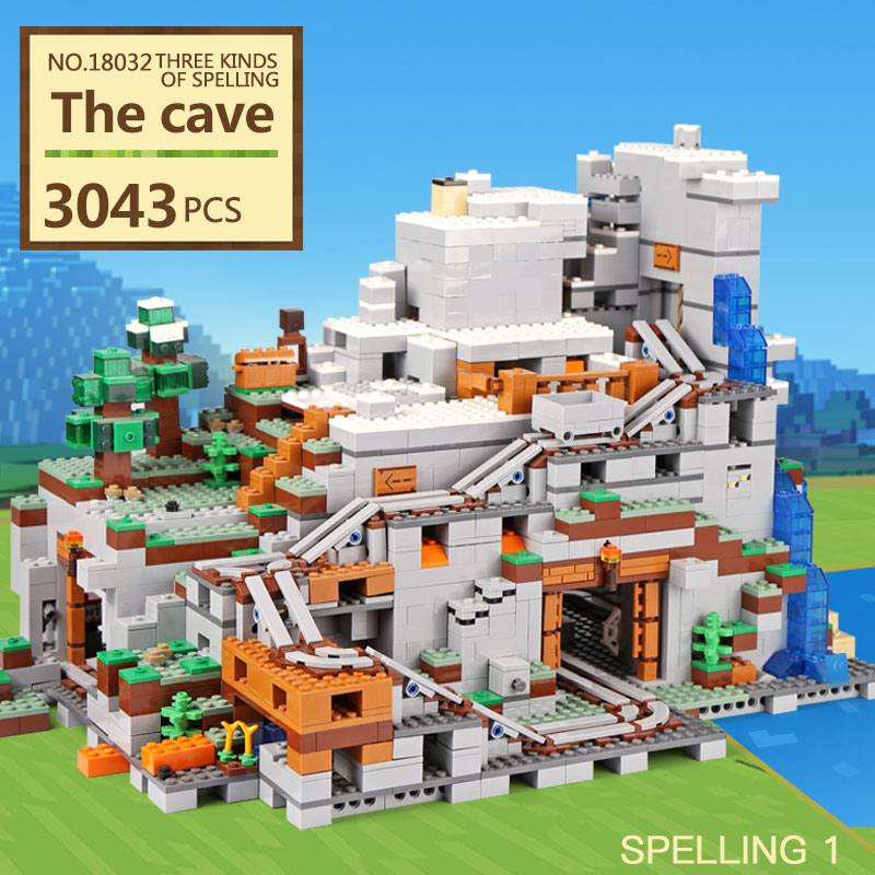 LEPIN 18032 Model Building Kit Blocks Bricks mechanism 3043pcs The Mountain Cave My worlds Compatible with