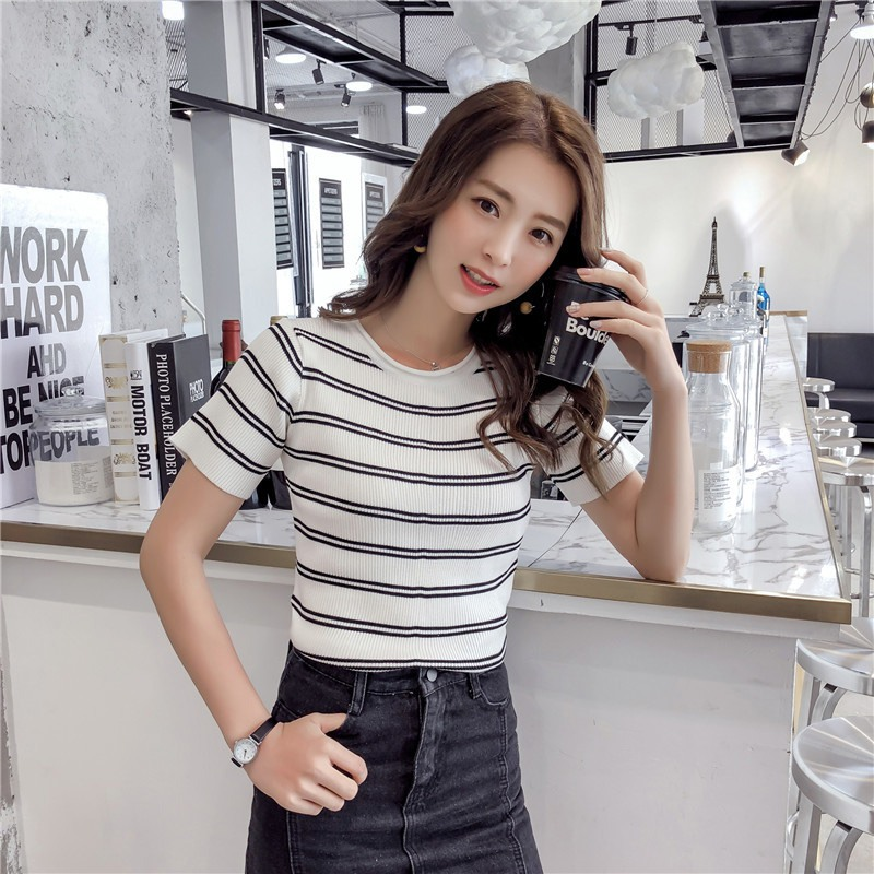 T Shirts Women Striped Knitted Short Sleeve Loose T Shirt