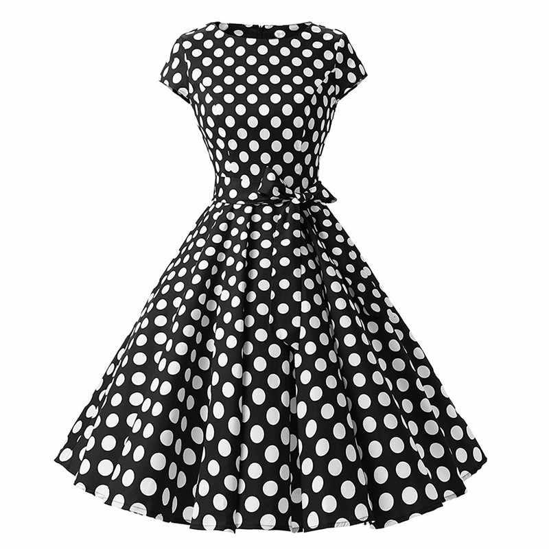 7ca7ee7b1ec ... Для женщин Хепберн летнее платье в горошек ретро Высокая талия 50 s 60  s вечерние с ...