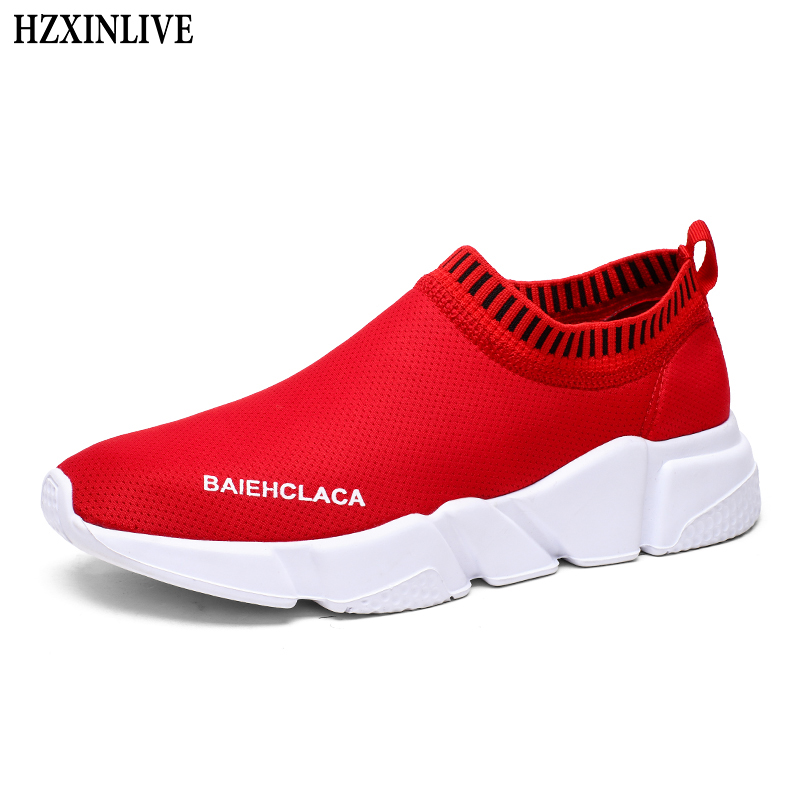 HZXINLIVE 2018 Women Sneakers Vulcanized Shoes Ladies Red Casual Shoes Breathable Walking Mesh Flats Large Size Couple Shoes 558