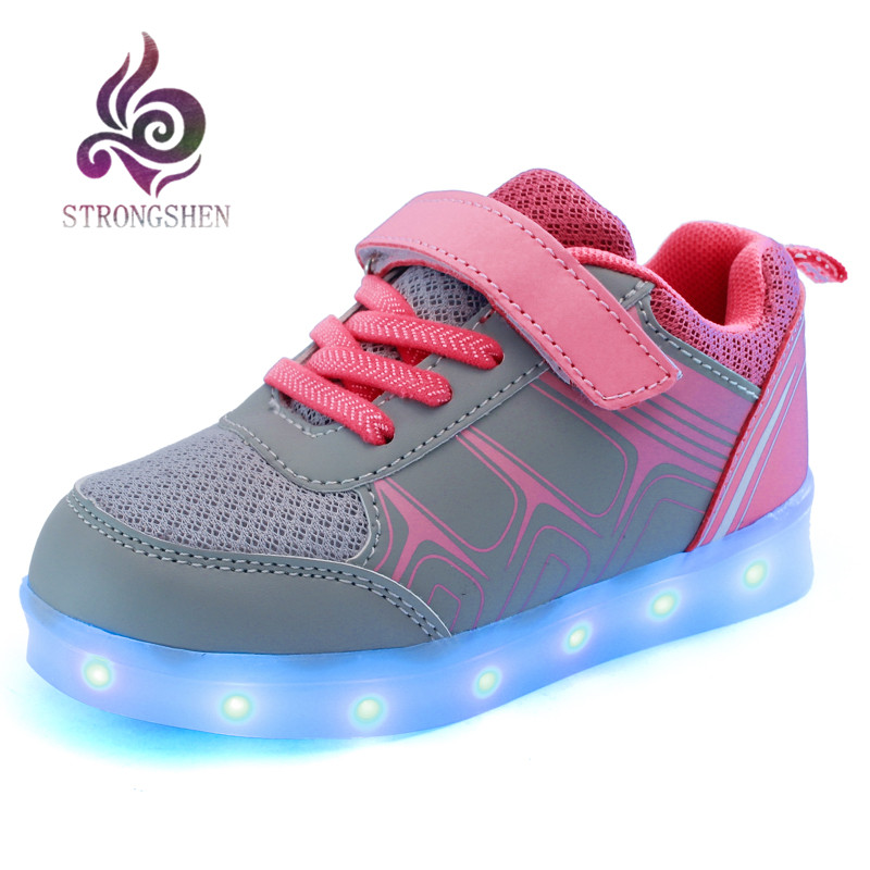 25-37 Rozmiar Kosz do ładowania LED Buty dziecięce z oświetleniem Dzieci Chłopcy i dziewczęta Świecące trampki Świecące skrzydło do butów