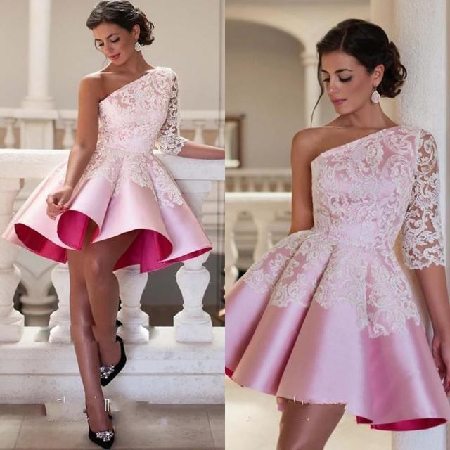 New Design 2017 Short Evening Dress One Shoulder Satin Dress ...