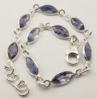 Chanti International Silver MARQUISE IOLITE Gemset Bracelet 20.1 CM WOMEN'S JEWELRY NEW