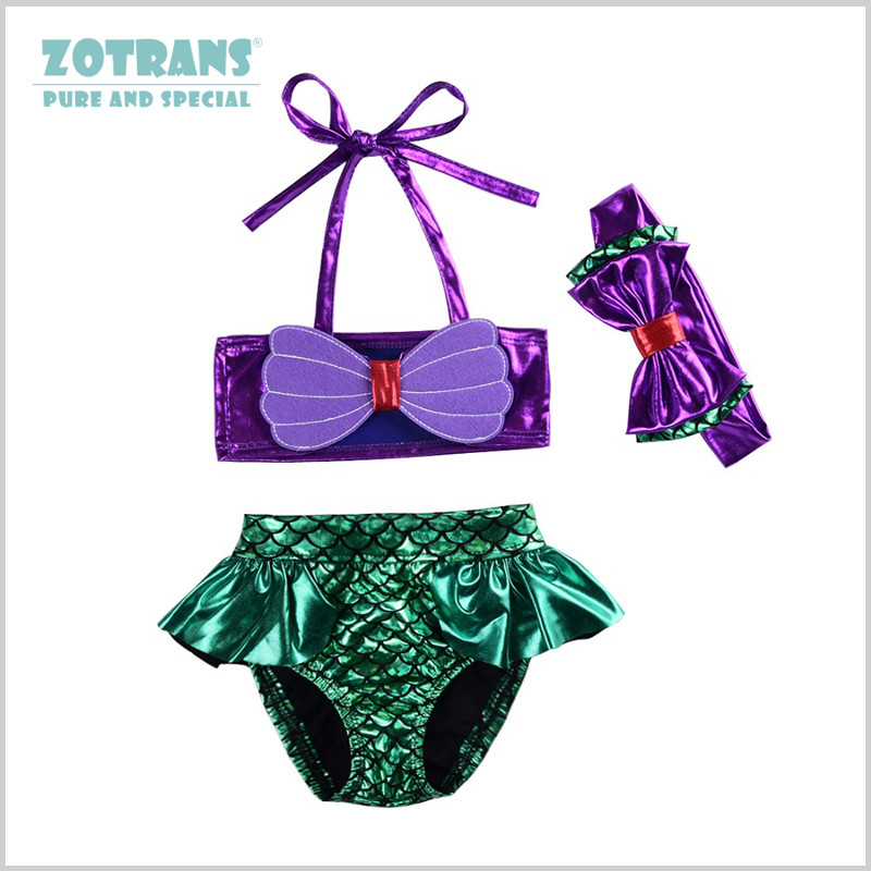 Baby Swimwear for Girls Two-piece Mermaid Childrens Swimsuit Polyester Material Bathing Suit for Infant Girls 0-2 Years