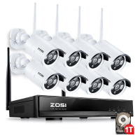 ZOSI 1 3MP CCTV System 960P 8CH HD Wireless NVR Kit 1TB HDD Outdoor IR Night