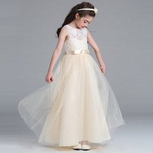 Luxury Very beautiful Lace Bow Girls Wedding Dress Embroidery Party Tulle Princess Birthday First Communion Gown for