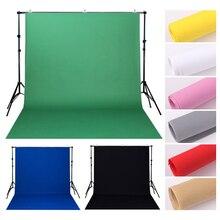 Нетканый фон для фотостудии 1,6 х2 м/3 м/4 м, однотонный зеленый, белый, черный экран, хромированная ткань