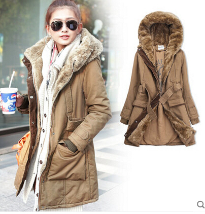 4e5622ee7 Winter Women Coat Parka Casual Outwear Military Hooded Coat Winter Jacket  Women Fur Coats Woman Thicken Overcoat H6793