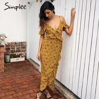 Simplee Floral Print Wrap Ruffles Midi Dress Women Strap V Neck Split Beach Summer Dress Sexy