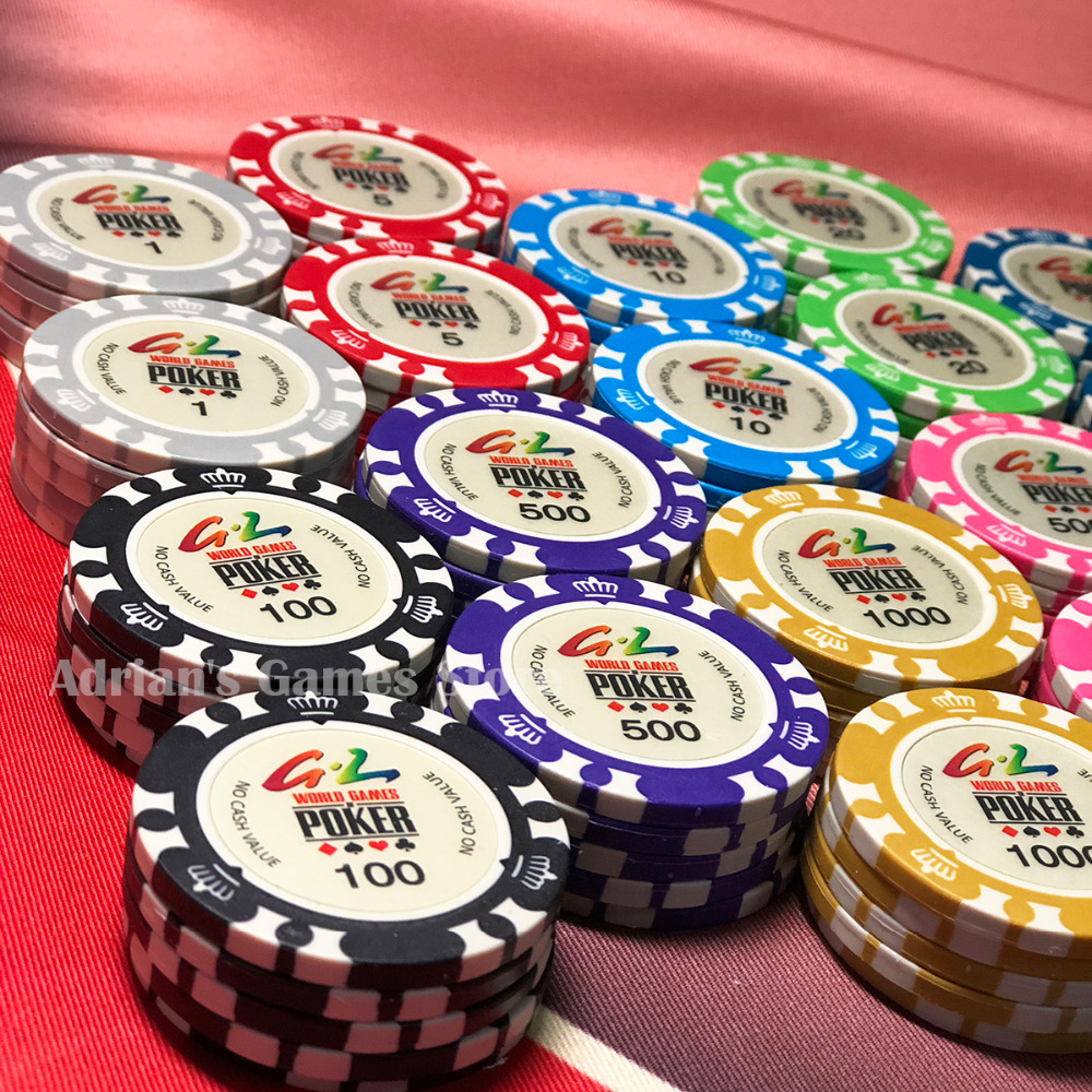 100PCS World Games Poker Chips with Box Crown Pocker Chips Set Texas Holdem Casino Game Token