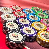 100PCS World Games Poker Chips with Box Crown Pocker Chips Set Texas Holdem Casino Game Token
