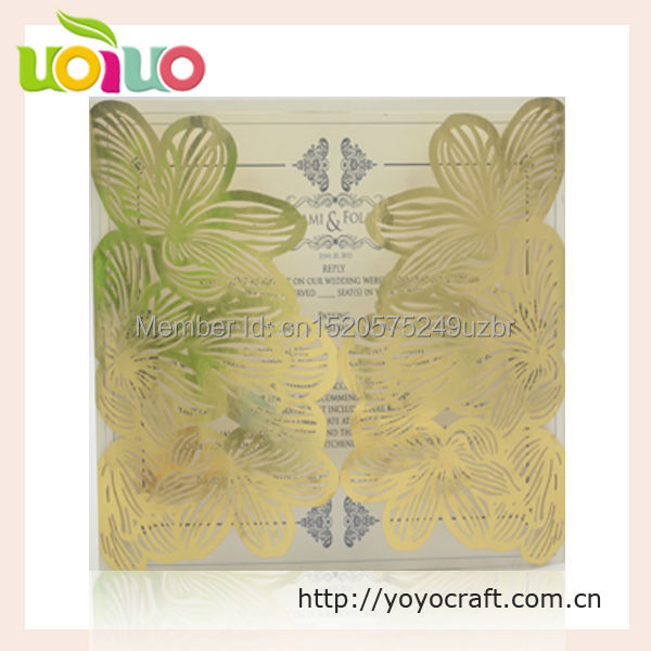 New Design Glitter Gold Paper Top Sell Blank Wedding Invitation Card With  Envelop 50sets