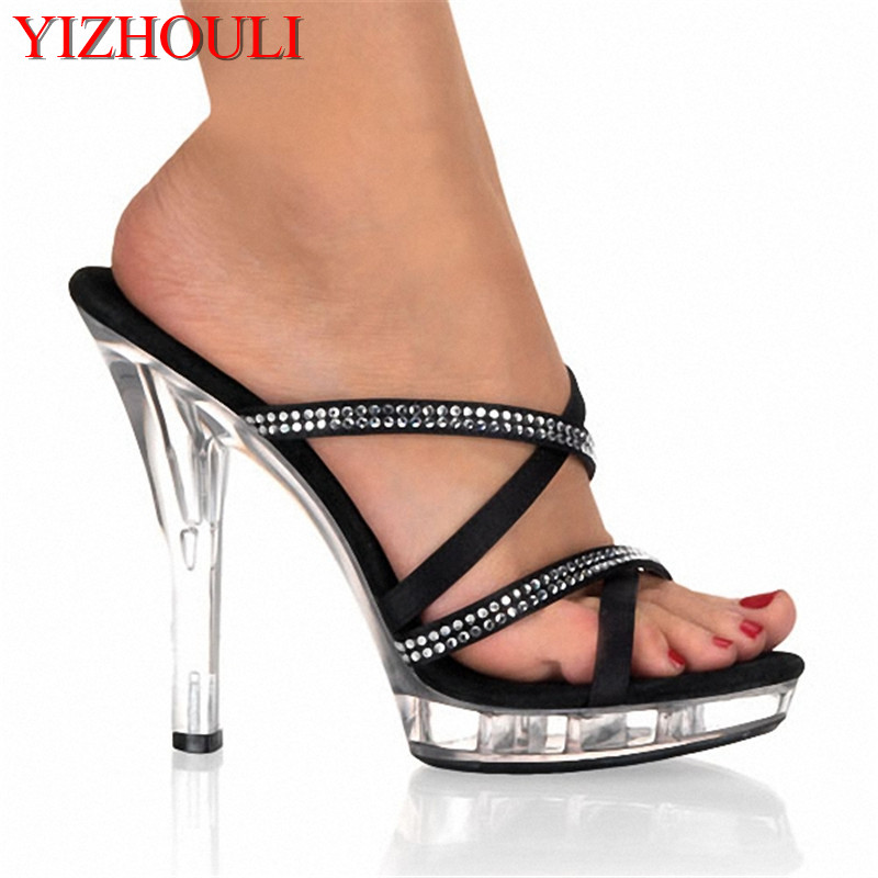 2018 Fashion Summer Slippers 13cm Women s Crystal Shoes Sexy Rhinestone Silver Glitter High Heels Slippers