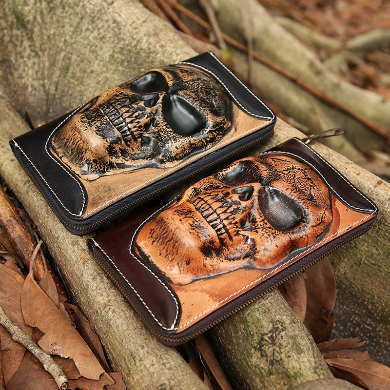25bce9ddae Vintage men wallet Skeleton leather carving personality handmade cow  leather zipper Handbag coin dollar Card Holder purse