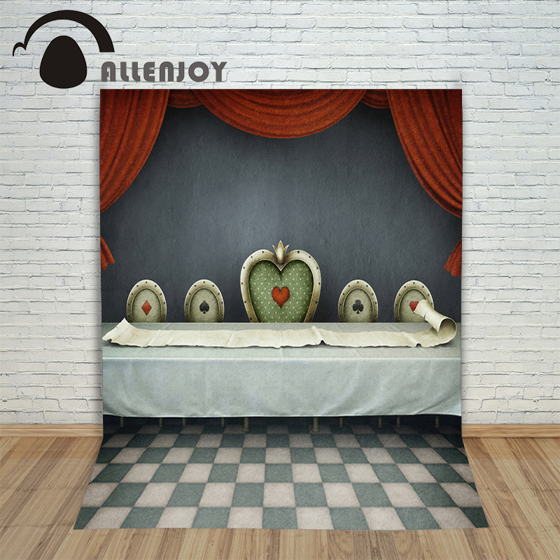 Allenjoy Backgrounds filming Queen of Hearts Poker Curtain Cartoon professional camera photography vinyl backdrops(China)
