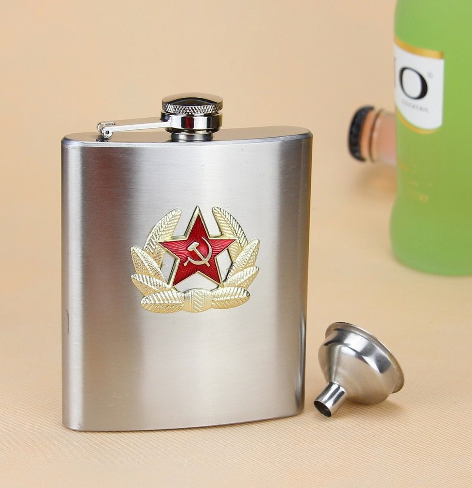 New 7 ounce Hip Flask Stainless Steel Flask CCCP Star Flask Outdoor Water Beer Flask Bottle