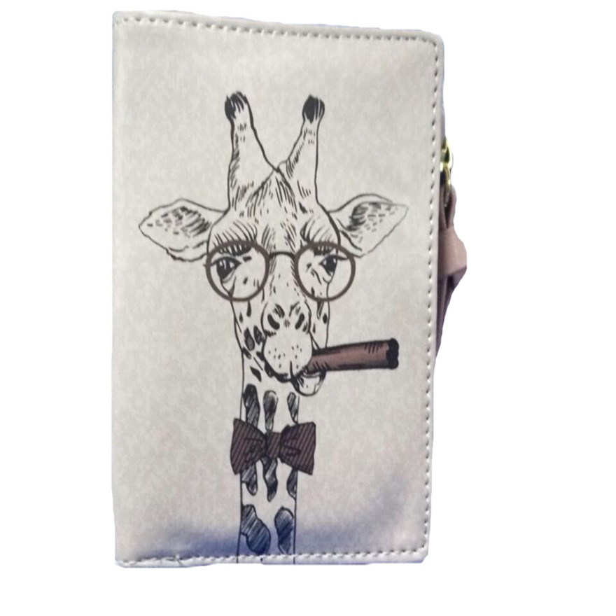 Fashion New Brand Women Vintage Giraffe Coin Clip Purse High Quality Zipper Short Wallets Cute Clutch Handbags wallets women S