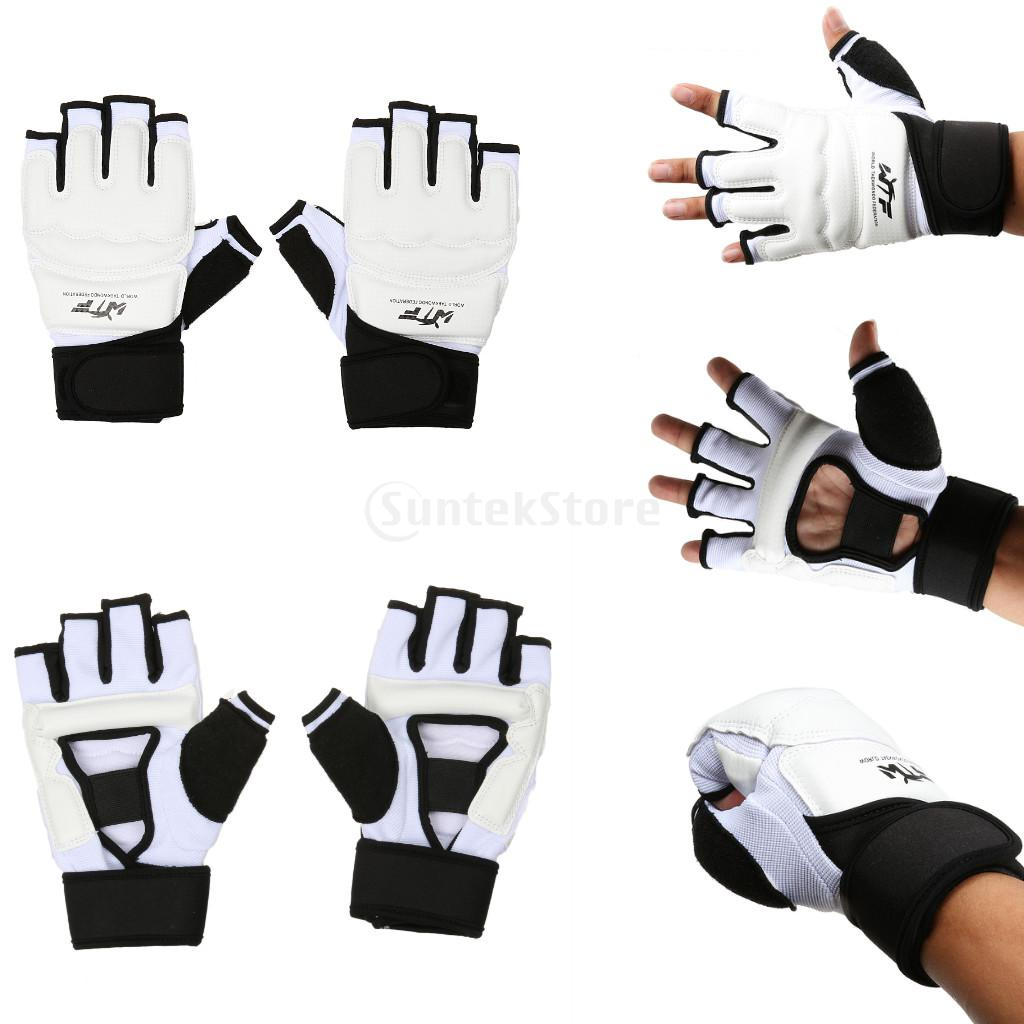 Для детей и взрослых Половина Finger бой Боксёрские перчатки рукавицы Санда каратэ Sandbag Protector для ММА Муай Тай Kick Бокс Обучение Белый