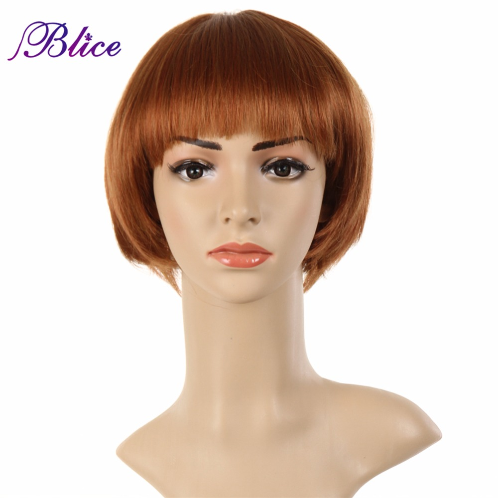 Blice Synthetic Wig Mix Color #27/350 Straight Wig Blunt Bang Wig Fiber Wigs Women