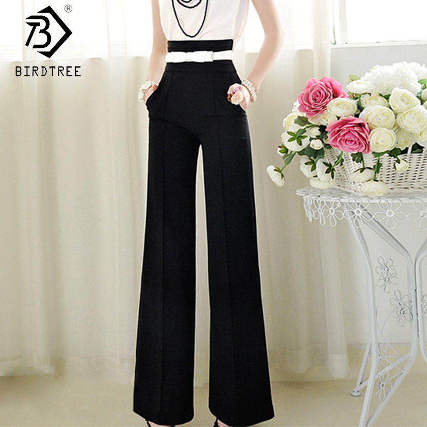 2019 Summer Woman Black   Wide     Leg     Pants   Elastic High Waist Pockets Solid Loose Bottom New Office Lady Hots Sales B8D729J