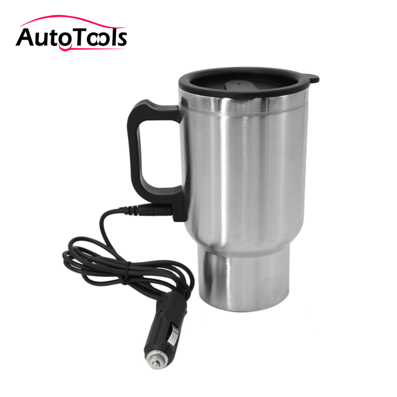 12v 450ml Car Heating Cup Stainless Steel Electric Water Heated Mug 12V Kettle Travel Mug Car Kit