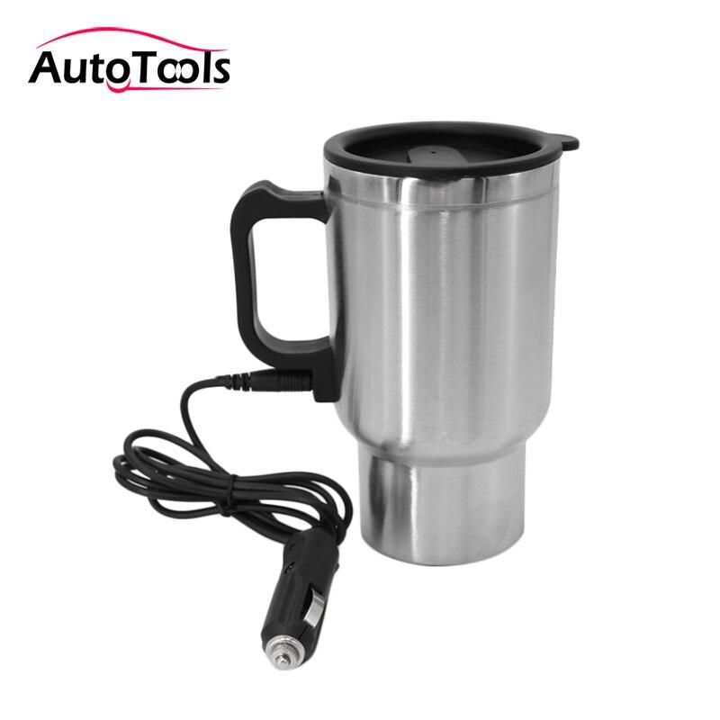 12v 450ml voiture chauffage tasse en acier inoxydable électrique eau chauffée tasse 12V bouilloire voyage tasse voiture kit