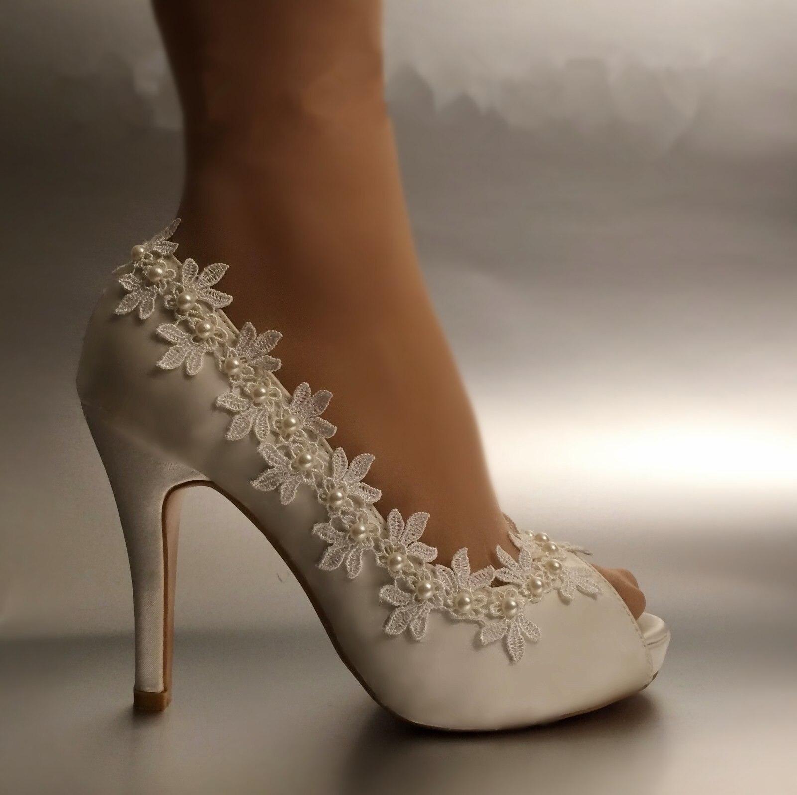 ФОТО Shoes Women Pumps Peep toe Open toe lace wedding shoes silk stain appliques size 41