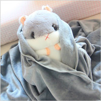 YunNasi Squishy Plush Hamster Pillow With Blanket Stuffed Animals Soft Toys For Children Girls Birthday Sleeping Bedroom Carpet