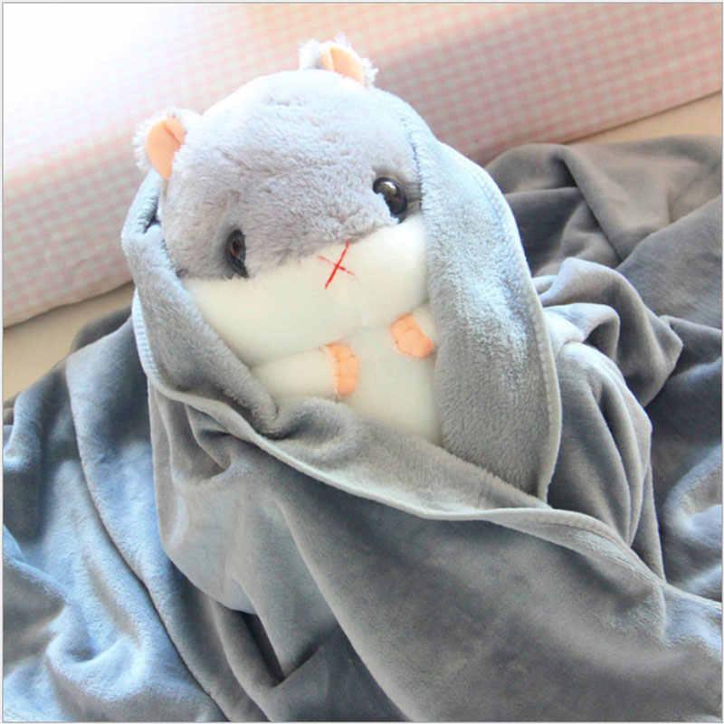 Yunnasi mole pelúcia hamster travesseiro com cobertor animais de pelúcia brinquedos macios para crianças meninas aniversário dormir quarto tapete