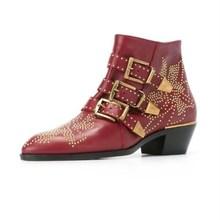 2018 осень Susanna заклепки, кожаные ботильоны женские круглый носок заклепки цветок ботинки «мартенс» роскошные женские бархатные сапоги zapatos mujer