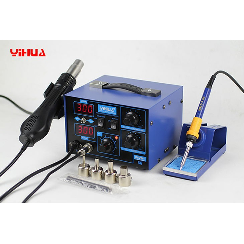 YIHUA 862D+ 2 In 1 BGA Rework Station Tool Soldering Station+YIHUA 305D 30V 5A adjustable DC power supply