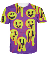 Black and Purple Acid Wax Smile T-Shirt Women Men Unisex Tops Fashion Clothing t shirt Summer Style Tees Drop Ship