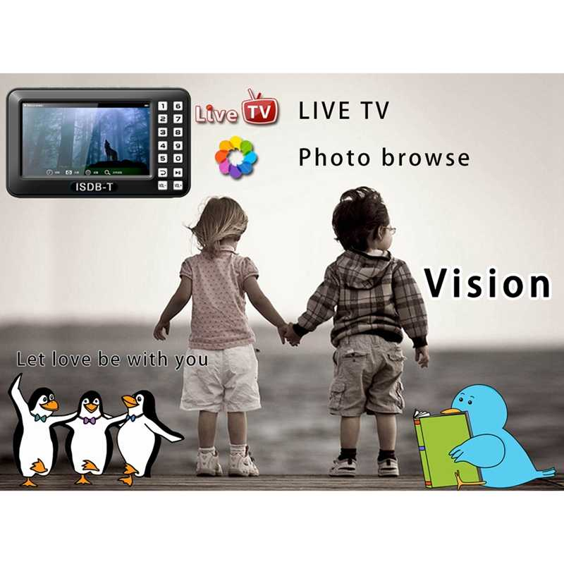 Draagbare 4.3 inch Lcd Tv Isdb-t Volledige Seg Fm Oplaadbare Tv Voor Live Films Muziek Fm Altijd Ons plug
