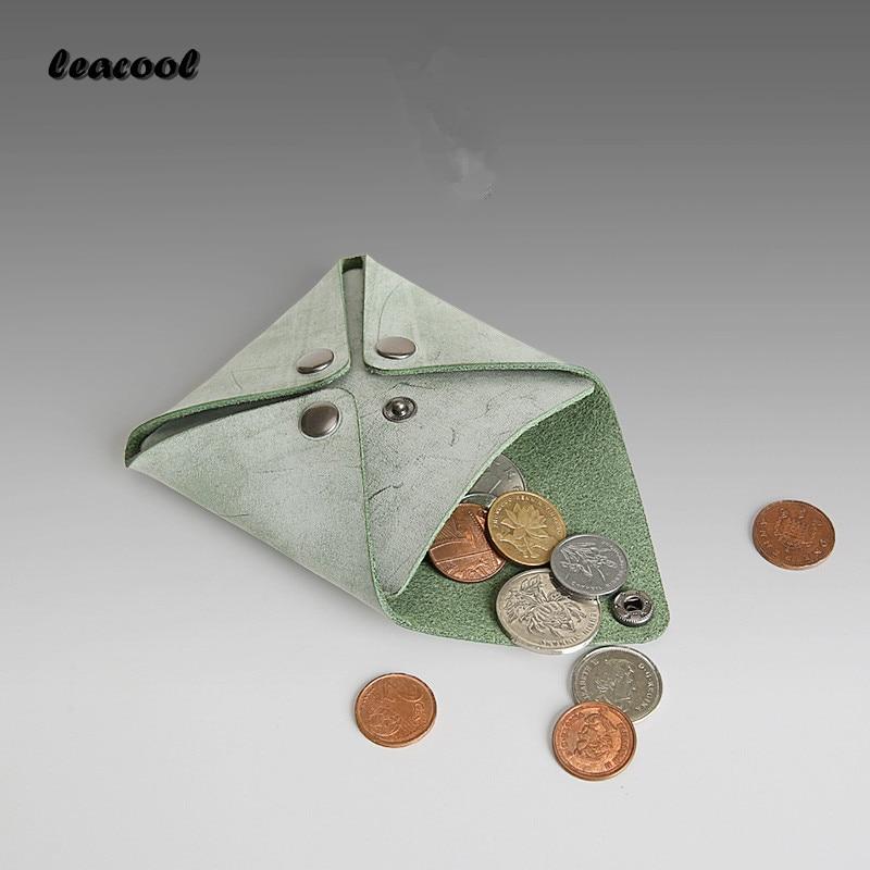 LEACOOL 2018 Women Men Genuine Leather Mini Coin Purse Women Small Coin Bags Slim Wallet Creative Designer Cowhide Storage Bag