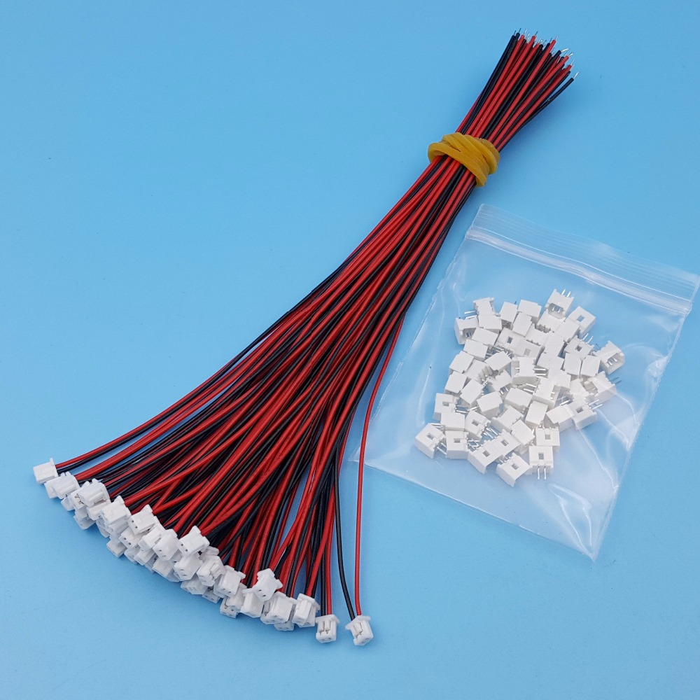 50Sets 2Pin Single End Micro JST Pitch 1.25mm 15cm 28AWG Wire To Board Connector
