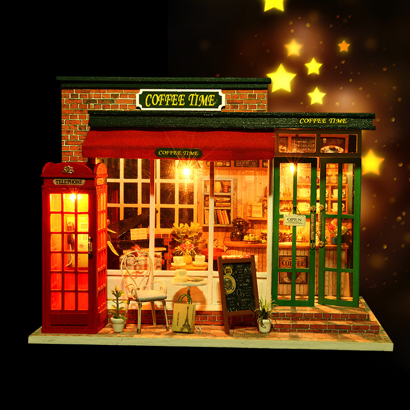 Biy Diy House Toy Boy & Girl Diy Dollhouse Kits Child Wood Education Diy Craft Christmas Diy Electronic Doll House diy dollhouse