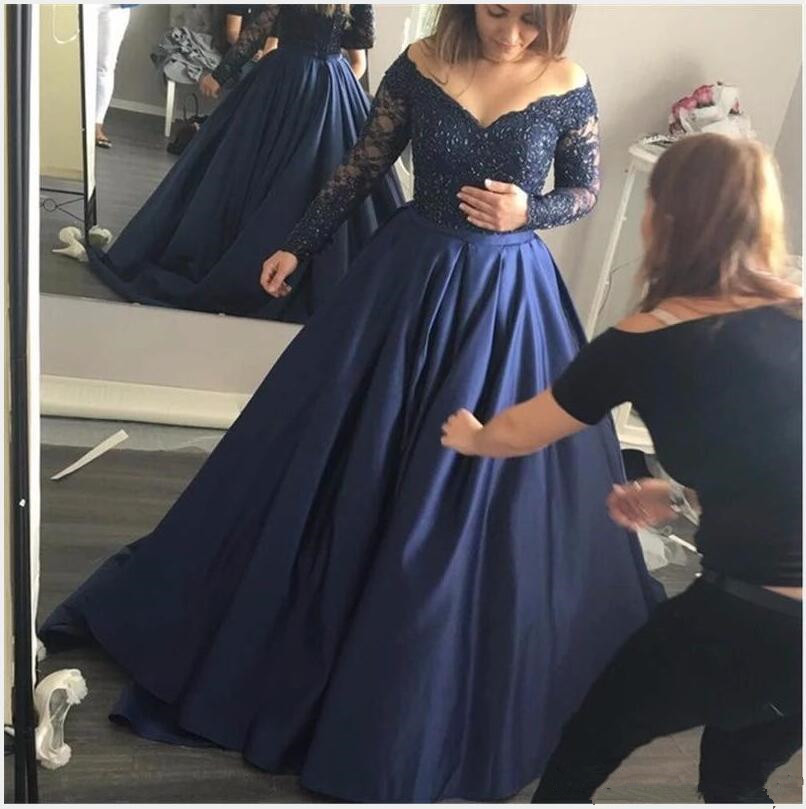 2017 Prom   Dresses   Dark Royal Blue Satin Lace Off The Shoulder Long Sleeves Formal   Evening     Dress   Party Gowns Custom Made