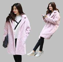 European 2016 Winter New Women Loose Thicken Lambs Wool Coat warm Show Thin Solid Color Casual Medium-long Woolen Coat G1752