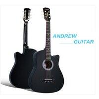 38 inç ıhlamur halk gitar altı dizeleri ahşap gitar ücretsiz kargo
