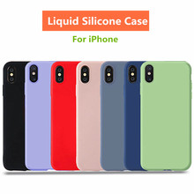 Liquid Silicone Case For iPhone X XS Ultra Slim Back Cover Luxury protective cover For iphone 8 7 6S 6 S Plus XS XR MAX case цена