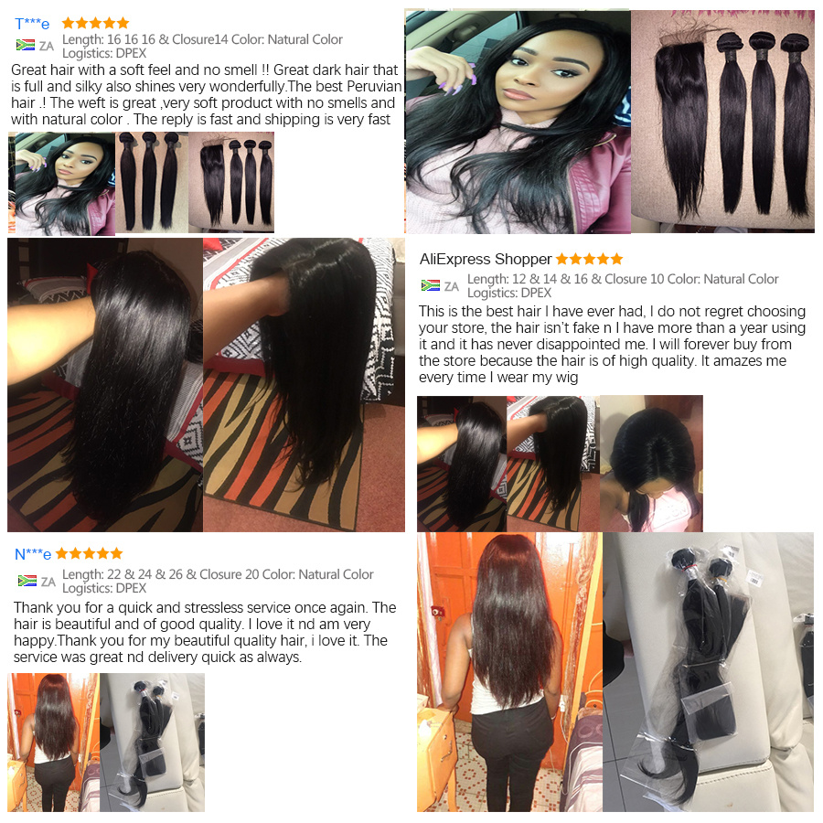 RUIYU Straight Hair Bundles Brazilian Hair Weave Bundles Mänskliga - Mänskligt hår (svart) - Foto 4